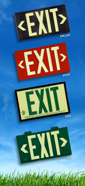 Jessup Glo Brite ECO Exit Signs - P50, PF50, S50, PM100